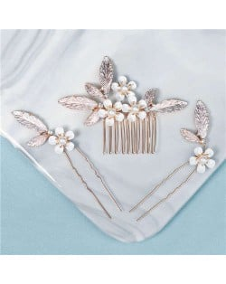 Vintage Floral Pattern Women Wedding Party 3 pcs Hair Pins and Comb Combo
