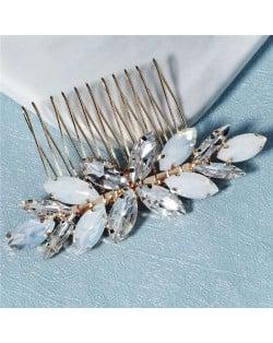 Opal and Rhinestone Embellished Graceful Wedding Bridal Hair Comb