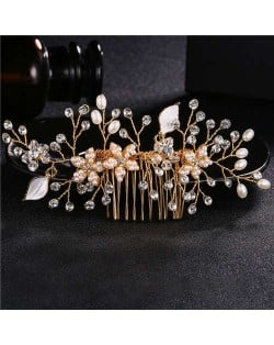 Pearl and Flowers Combo Gorgeous Women Wedding Hair Comb - Golden