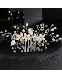 Pearl and Flowers Combo Gorgeous Women Wedding Hair Comb - Silver
