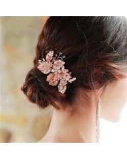 Rhinestone Embellished Vintage Floral Pattern Bridal Hair Comb/ Accessories
