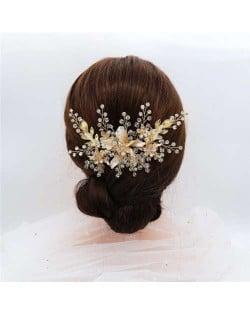 Spring Flowers Glistening Fashion Women Wedding Bridal Hair Accessory - Golden