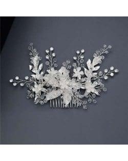 Spring Flowers Glistening Fashion Women Wedding Bridal Hair Accessory - Silver