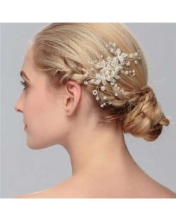 Pearl Decorated Floral Pattern Bridal Women Hair Comb/ Accessories