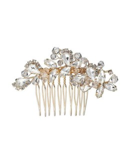 Vintage Style Glistening Crystal Women Wedding Bridal Hair Comb - Golden