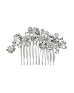 Vintage Style Glistening Crystal Women Wedding Bridal Hair Comb - Silver