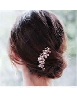 Vintage Style Glistening Crystal Women Wedding Bridal Hair Comb - Rose Gold