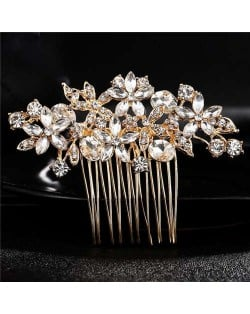 Shining Rhinestone Flowers Cluster Women Bridal Hair Comb - Golden