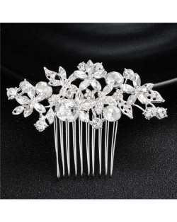 Shining Rhinestone Flowers Cluster Women Bridal Hair Comb - Silver
