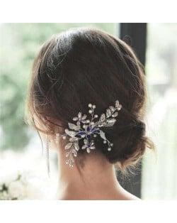 Rhinestone Leaves Handmade Women Wedding Hair Comb/ Hair Pin - Blue