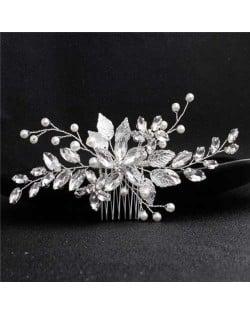 Rhinestone Leaves Handmade Women Wedding Hair Comb/ Hair Pin - Silver