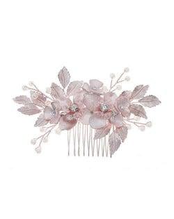 Japanese Fashion Floral Pattern Handmade Women Hair Comb/ Hair Ornament - Rose Gold