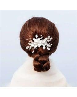 Japanese Fashion Floral Pattern Handmade Women Hair Comb/ Hair Ornament - Silver