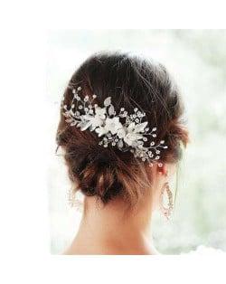 Creative Ceramic White Flower Design Handmade Bridal Hair Ornament