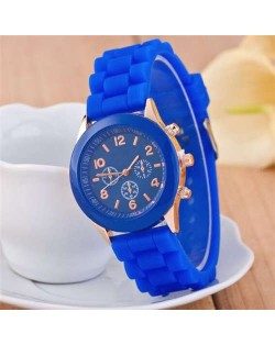 Sweet Candy Fashion Silicon Band Dark blue Wrist Watch