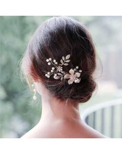 Oil-spot Glazed Flower and Leaves Bridal Women Hair Ornament