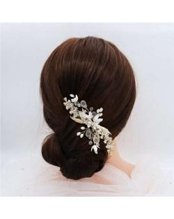 Matte Texture Flowers Design Bridal Women Hair Ornament/ Hair Pin