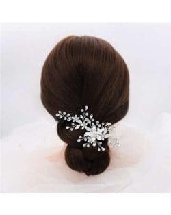 Korean Fashion Graceful Silver Shining Flowers Wedding Women Hair Clip/ Hair Ornament