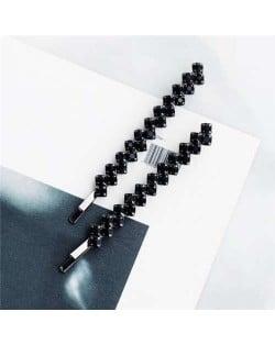 Rhinestone Glistening Fashion Bridal Women Hair Clip/ Hair Accessories - Black