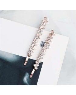 Rhinestone Glistening Fashion Bridal Women Hair Clip/ Hair Accessories - Rose Gold