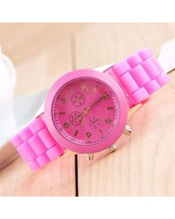 Sweet Candy Fashion Silicon Band Rose Wrist Watch
