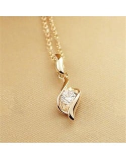 Glistening Rhinestone Decorated 18K Rose Gold Pendant Necklace