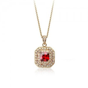 Rhinestone Inlaid Red Crystal Pendant 18k Rose Gold Plated Necklace