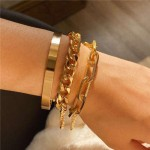 U.S. High Fashion Mixed Chains Design Women Alloy Costume Bracelet Set - Golden