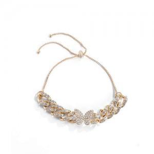 Rhinestone Emebellished Butterfly Design Cuban Chain Fashion Bracelet - Golden