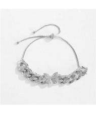 Rhinestone Emebellished Butterfly Design Cuban Chain Fashion Bracelet - Platinum