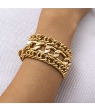 Vintage Chunky Chain Design Hip-hop Style Alloy Bracelet Set - Golden