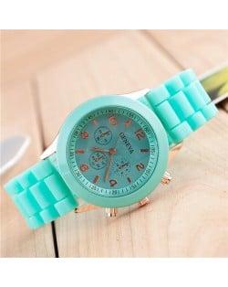 Sweet Candy Fashion Silicon Band Green Wrist Watch