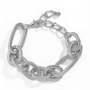 Punk Fashion Simple Design Alloy Costume Bracelet - Silver