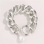Pearl Decorated Baroque Design Vintage Hollow Chain Alloy Costume Bracelet - Platinum