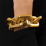 Punk Fashion Thick Alloy Chain Women Costume Bracelet - Golden
