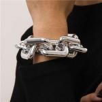 Punk Fashion Thick Alloy Chain Women Costume Bracelet - Silver