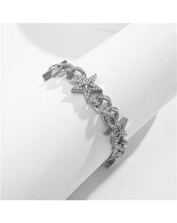 Shining Rhinestone Embellished Cuban Chain Women Fashion Bracelet - Silver