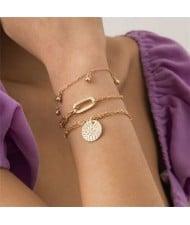 Bells and Geometric Pendants Decorated High Fashion Women Bracelet Set - Golden