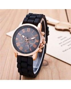 Sweet Candy Fashion Silicon Band Black Wrist Watch