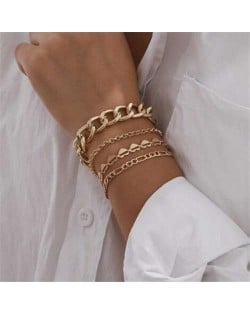 Hearts and Chain Combo with Bells Tassel Design Women Alloy Fashion Bracelet Set - Golden