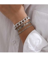 Hearts and Chain Combo with Bells Tassel Design Women Alloy Fashion Bracelet Set - Silver