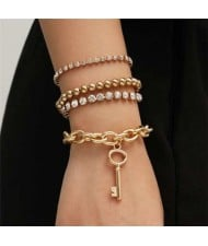 Rhinestone Embellished Vintage Chain with Key Pendant Punk Fashion Bracelet Set - Golden