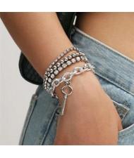 Rhinestone Embellished Vintage Chain with Key Pendant Punk Fashion Bracelet Set - Silver