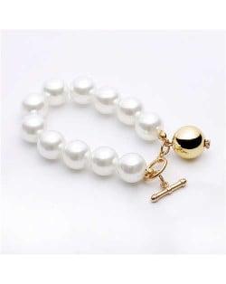 Golden Ball Pendant Pearl Fashion Women Costume Bracelet - Golden