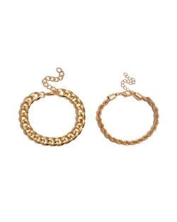 High Fashion Mixed Chains Design Creative Women Alloy Bracelet Set - Golden