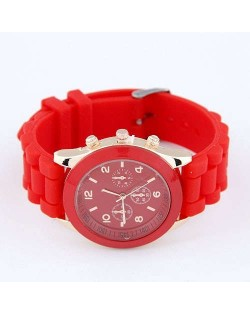 Sweet Candy Fashion Silicon Band Red Wrist Watch