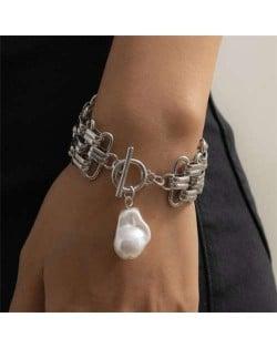 Pearl Pendant Chunky Chain Punk Fashion Alloy Bracelet - Silver
