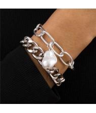 Original Shape Pearl Pendant Baroque Fashion Alloy Costume Bracelet Set - Silver