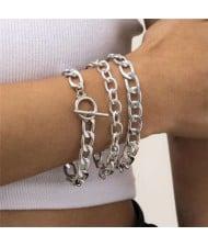 Hollow Chain Design Punk Fashion Vintage Triple Bracelet Set - Silver