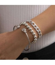 Skull Design Punk Fashion Triple Alloy Bracelet Set - Silver
